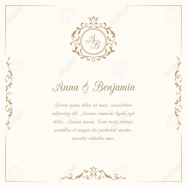 Invitation Card With Monogram  Wedding Invitation, Save The Date
