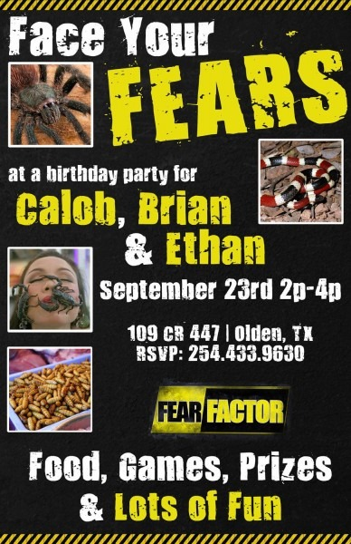 Fear Factor Printable Invite By Lucidinvites On Etsy, $18 00