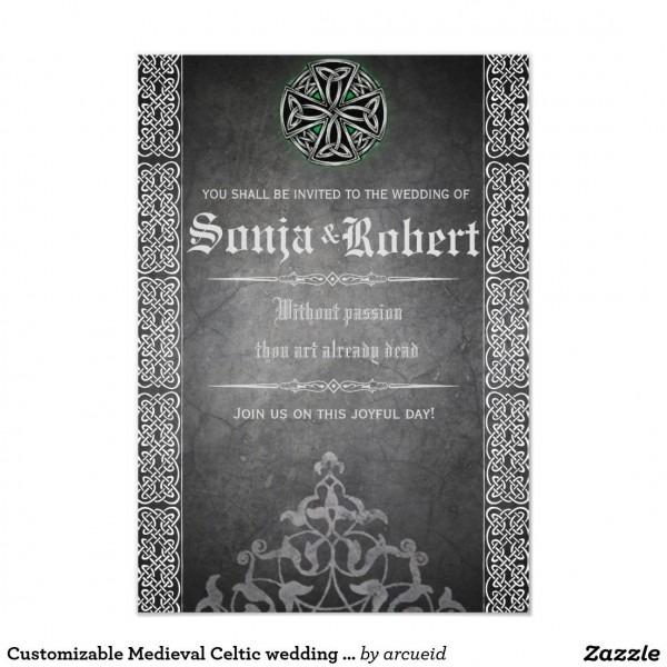 Customizable Medieval Celtic Wedding Invitation