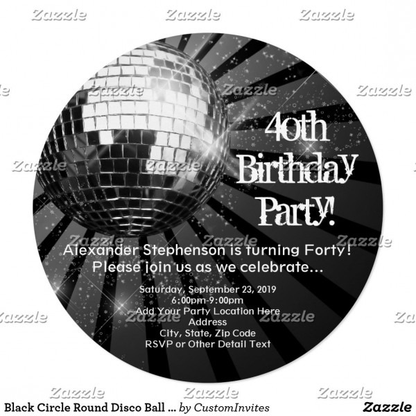 Black Circle Round Disco Ball 40th Birthday Party Invitation