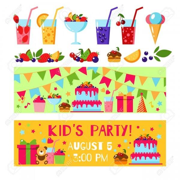 Happy Birthday Invitation Card  Flat Vector Kids Invitation
