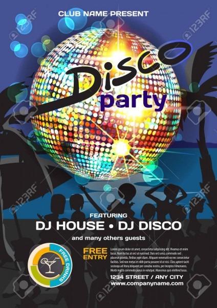 Summer Party Invitation Disco Style  Night Beach, Crowd Women