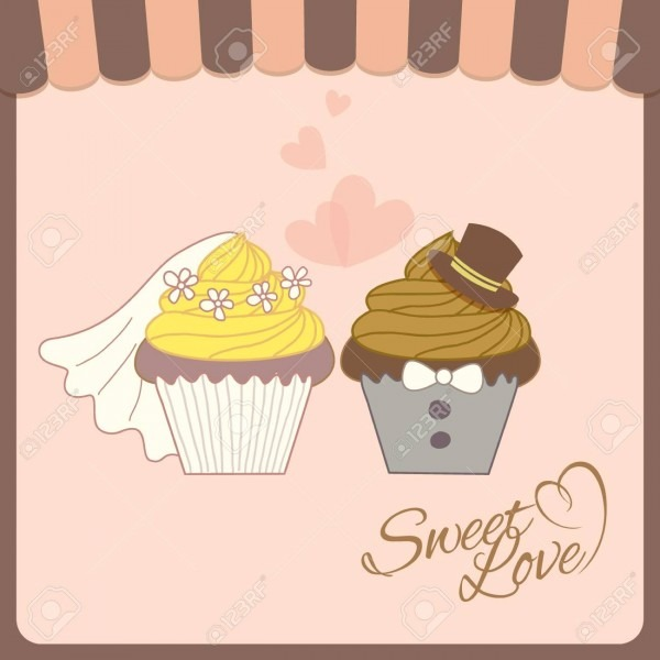 Wedding Invitation Card With Cupcakes On Concept Design