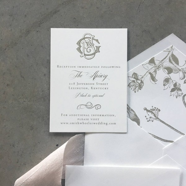 Sample Victorian Monogram Wedding Invitation