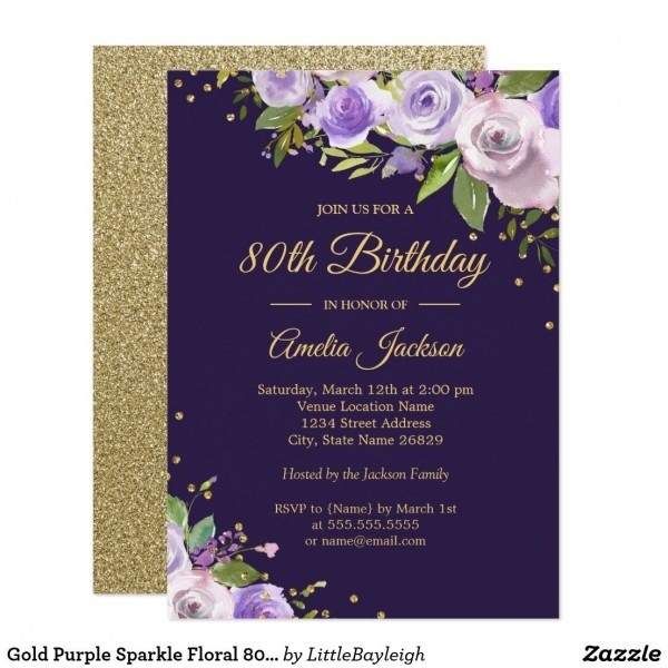 Gold Purple Sparkle Floral 80th Birthday Invite