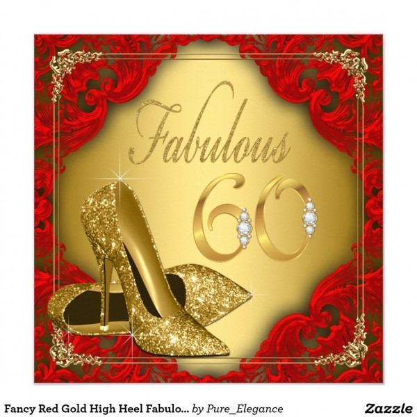 Fancy Red Gold High Heel Fabulous 60th Birthday Invitation