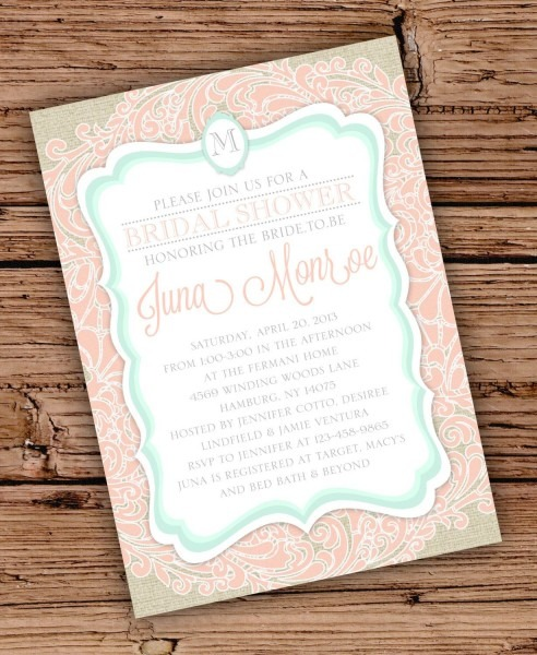 Burlap And Lace Bridal Shower Invitation Colored Lace Seafoam And