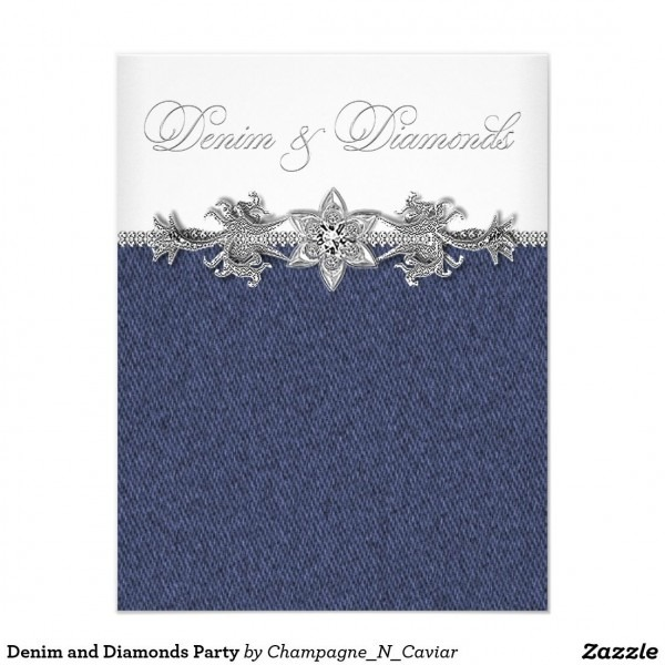 Denim And Diamonds Party Invitation