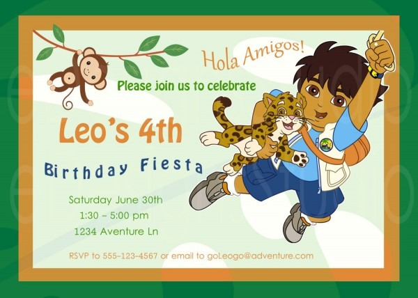Go Diego Go Printable Birthday Party Invitation