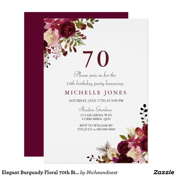 Elegant Burgundy Floral 70th Birthday Invitation