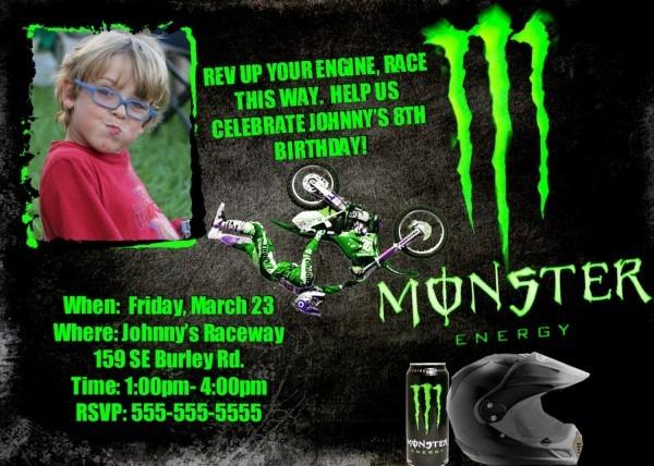 Motocross Invitation Birthday Monster Energy Personalized Photo