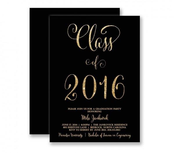 Amazon Com  Graduation Invitations Black & Gold Glitter Look