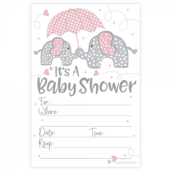 Amazon Com  Pink Elephant Girl Baby Shower Invitations (20 Count