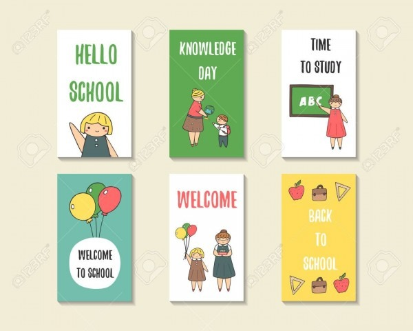 Cute Doodle Back To School Cards, Brochures, Invitations With