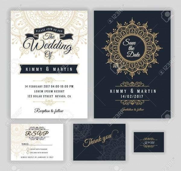 Vintage Wedding Invitation Mehndi Mandala Design Sets Include