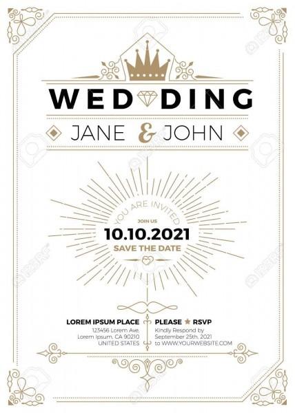 Vintage Wedding Invitation Card A5 Size Frame Layout Print