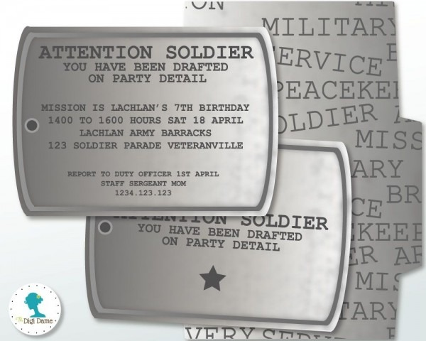 Military Dog Tag Party Invitation