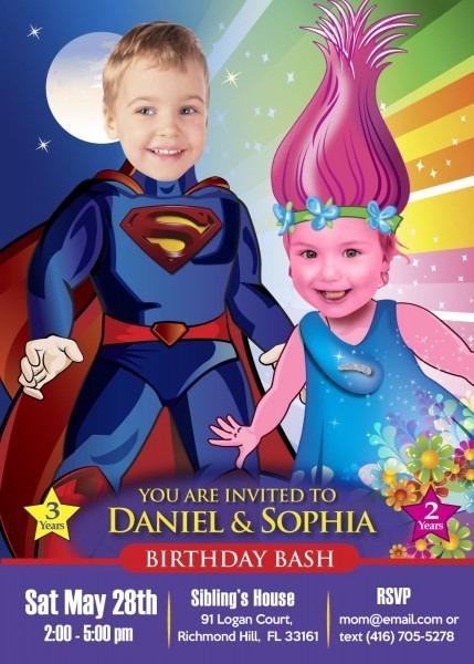 Superman And Princess Poppy Birthday Invitation  Joint Birthday