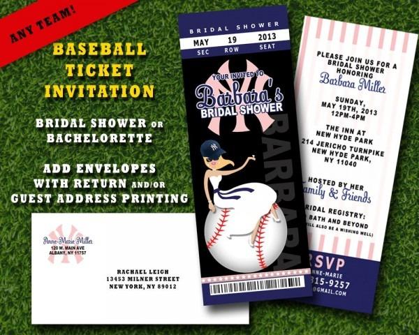 Bridal Shower, Bachelorette Invitation  Baseball Themed  Any Team