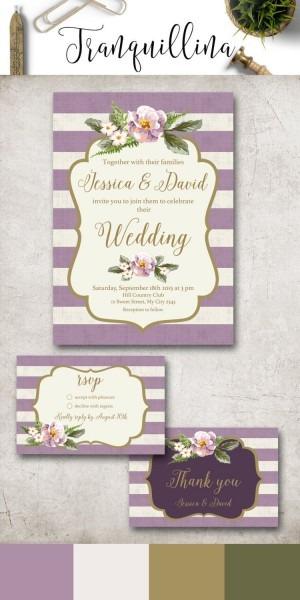 Floral Wedding Invitation Set Purple Wedding Invitation Suite