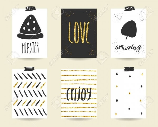 Cute Doodle Black And Gold Birthday, Party, Baby Shower Cards