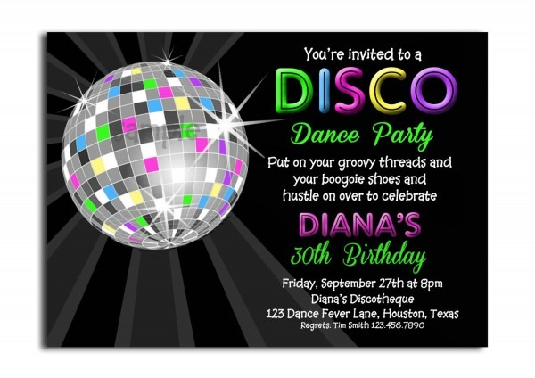 Disco Ball Neon Invitation Printable By Thatpartychick On Etsy
