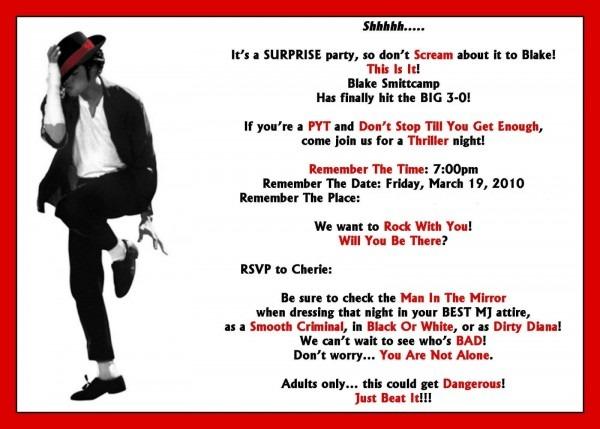 Michael Jackson Party Invitations