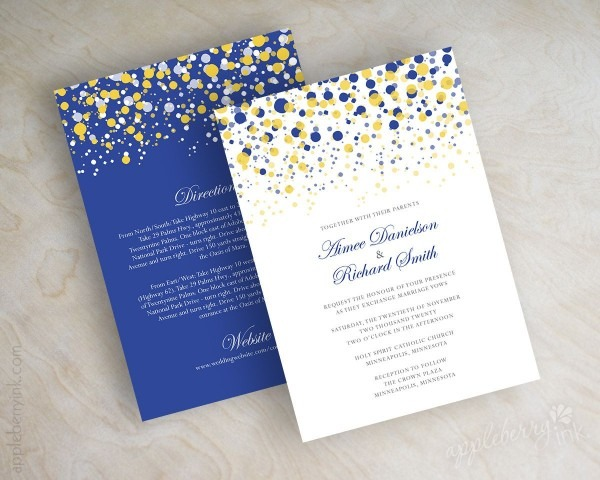Royal Blue And Gold Yellow Polka Dot Wedding Invitations Wedding