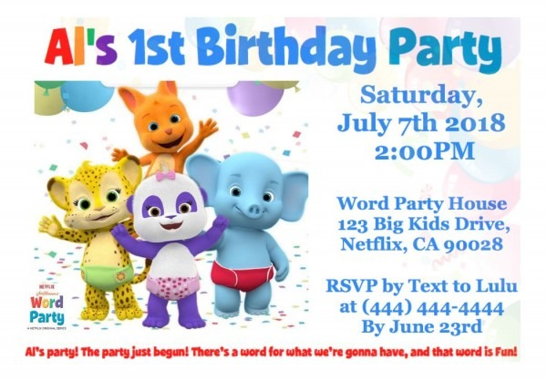 Word Party Netflix Birthday Invitation