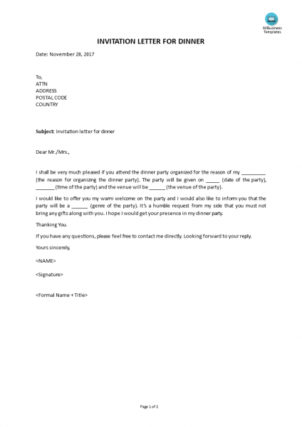 Free Invitation Letter For Dinner