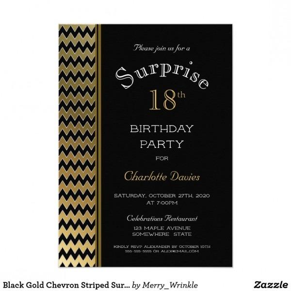 Black Gold Chevron Striped Surprise 18th Birthday Invitation