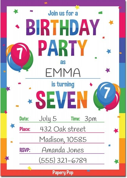 Amazon Com  Papery Pop 7th Birthday Party Invitations With
