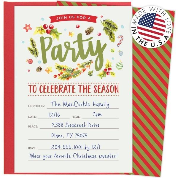 Amazon Com  Christmas Party Invitations For Holiday Celebrations