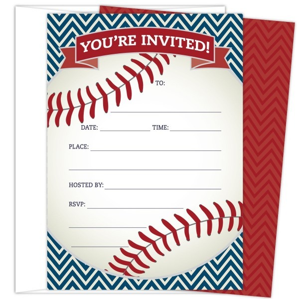 Baseball Party Invitations In Red And Navy  Set Of 25 Baseball