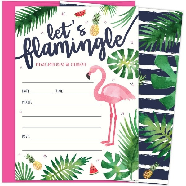 Amazon Com  Let's Flamingle Party Invitations With Pink Flamingo