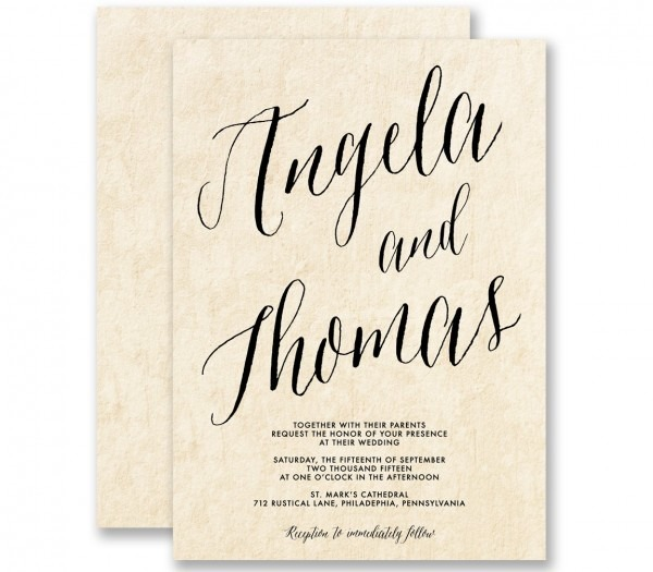 Amazon Com  Calligraphy Wedding Invitations Parchment Modern