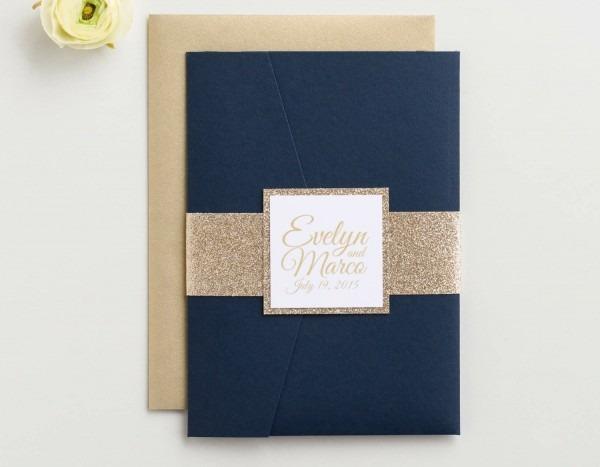 Amazon Com  Custom Glitter Pocket Folder Wedding Invitation With