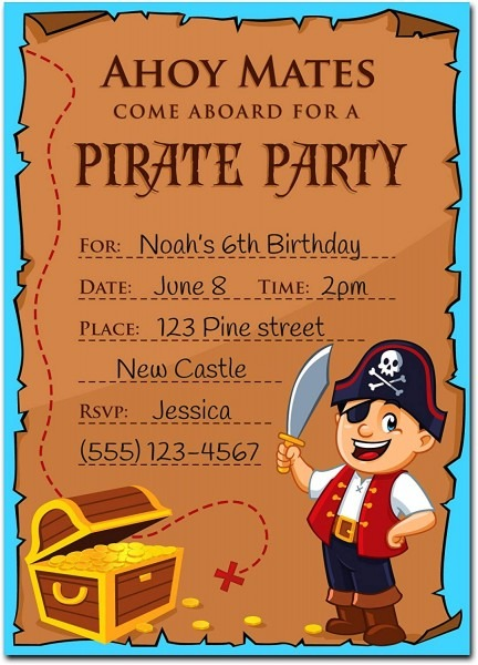 Amazon Com  30 Pirate Birthday Invitations With Envelopes (30 Pack