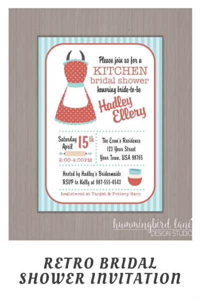 50's Housewife Invitation, Kitchen Shower Invitation, Retro