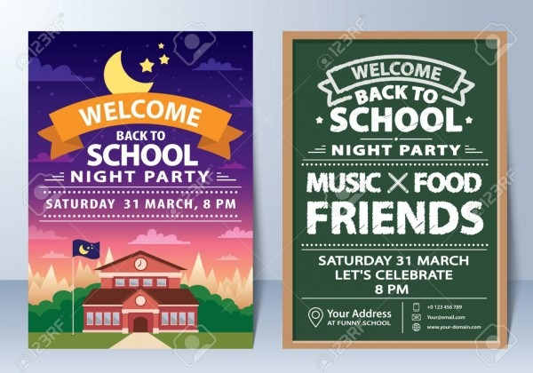 Invitation Of Back To School Night Party Template Design  Royalty