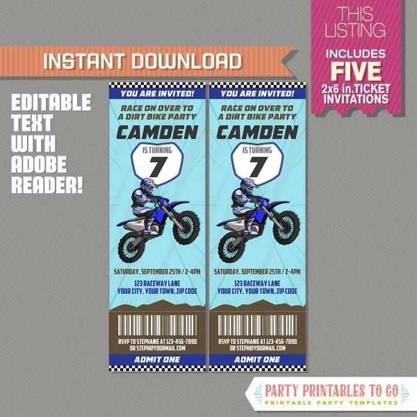 Dirt Bike Party Ticket Invitation (blue)