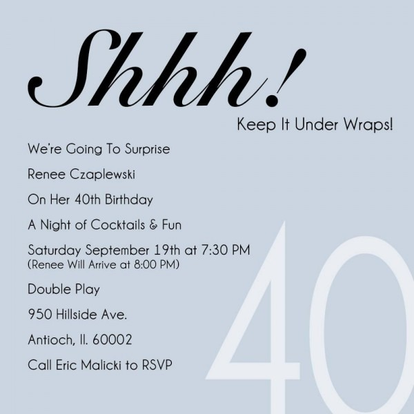 Funny 40th Birthday Party Invitation Wording