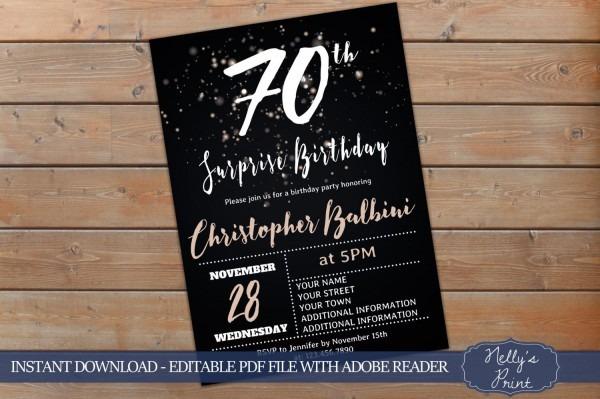 70th Surprise Birthday Invitation, Adult Birthday Invitations