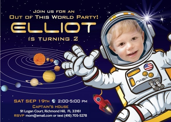 Astronaut Birthday Party Invitations  Galaxy Birthday Invitations