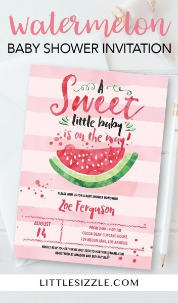 Watermelon Baby Shower Invitation For Girl In 2019