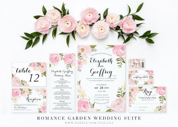 Modern Vintage Pink Floral Custom Monogram Wedding Postage
