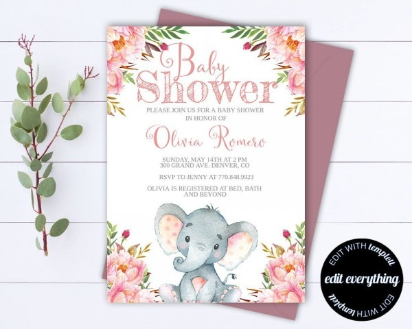 Floral Baby Shower Invitation Template
