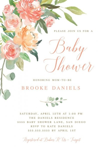 Spring Baby Shower Invitation, Peach Invitations, Floral