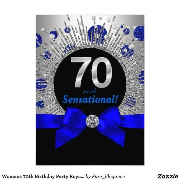 Womans 70th Birthday Party Royal Blue And Silver Invitation