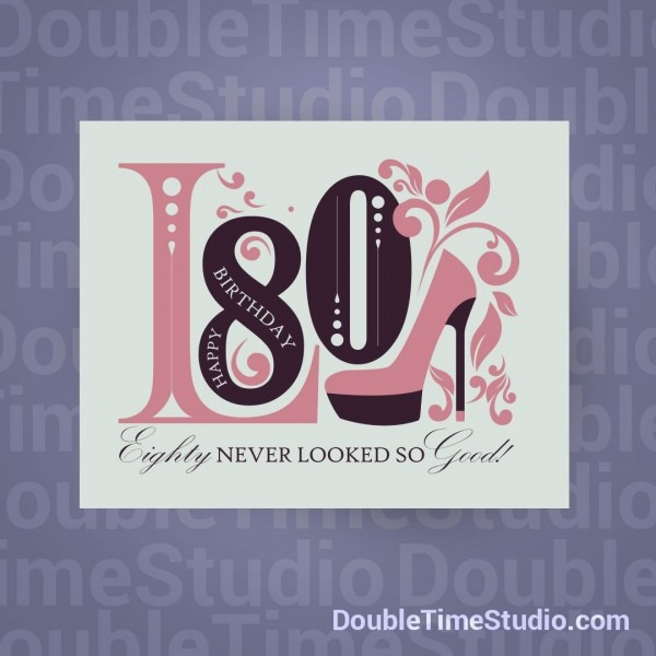 Celebrating 80th Birthday Invitation @doubletimestudio  Color